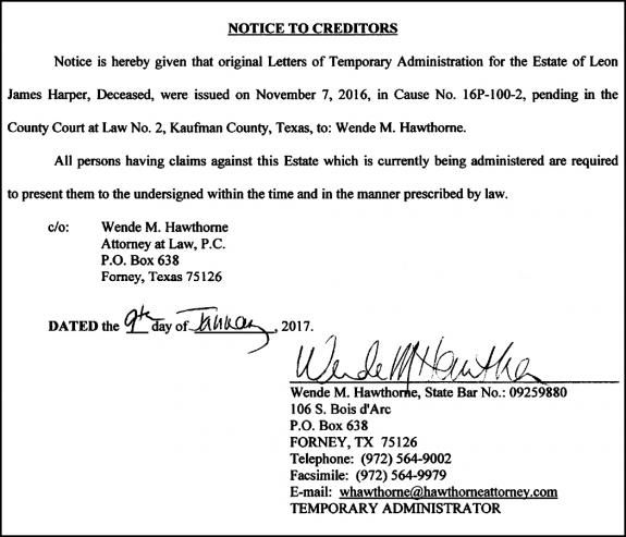 01 19 17 Notice - 16P-100-2-Harper_Hawthorne | Forney Messenger